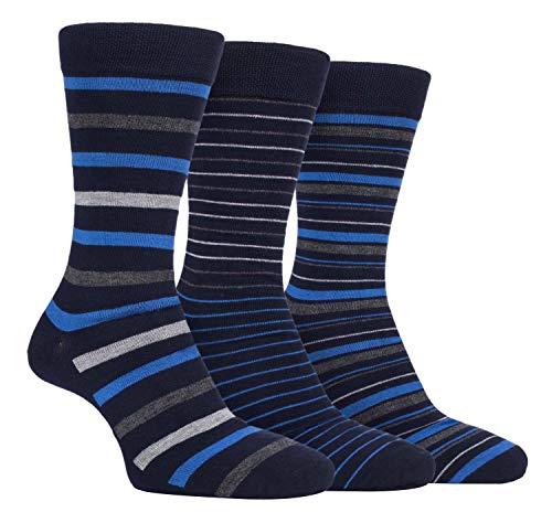 Farah - 3er Pack Herren Business Bunt Bambussocken/Socken mit Gestreift (FCS196NVYBLU, 39/45 eur)