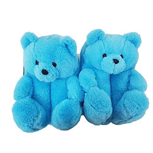 Teddybär Hausschuhe, Frauen Niedlich Teddy Tier Hausschuhe Home Indoor Soft Anti-Slip Kunstpelz Niedlich Hausschuhe