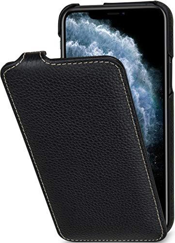 StilGut UltraSlim entwickelt für iPhone 11 Pro Hülle - iPhone 11 Pro Flip Hülle aus Leder, Klapphülle, Handyhülle, Lederhülle - Schwarz