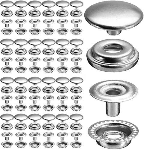 Baogu 100 unidades (25 juegos) Botones de presión de acero inoxidable Set de lona lona de camping sin costuras, 15 mm para cuero, artesanía, chaqueta, cartera, bolso (plata)