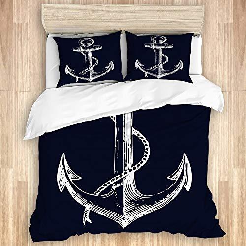 TARTINY Biancheria da Letto -Ancora Nautica Blu Navy,Set Copripiumino,Nuovo Set di 3 Pezzi Stampato con 2 federe(140 * 200cm)