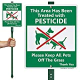 SmartSign 'Area Treated with Pesticides, Keep Pets Off Grass' Sign for Lawn | 10' x 12' Aluminum Sign with 3' Stake