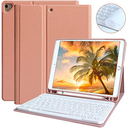 iPad 7th Generation Case Keyboard 10.2 2019 Keyboard Case for iPad Air 3/ iPad Pro 10.5 iPad Keyboard Case 7th Generation with Pencil Holder Detachable Bluetooth Keyboard Case Cover