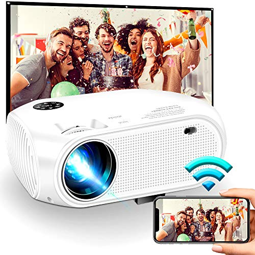 """Wireless WiFi Projector 4500L,2020 New WEILIANTE Mini HD Video Projector, Support Dolby 50,000Hrs, 200"""" Display, 1080P, Compatible with Android, iOS, Video Games, TV Stick, Laptops"""