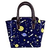 Rivets - Bolsas de piel para mujer, con asa superior, para ir de compras, trabajo, campus y estrellas, color negro