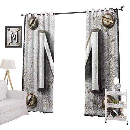 Letter M Blacked Out Curtain Zinc Iron Steel Alphabet Typeset with Grunge Scratched Texture Industrial Image The Best Choice for Bedroom and Living Room W84xL84 Silver Gold