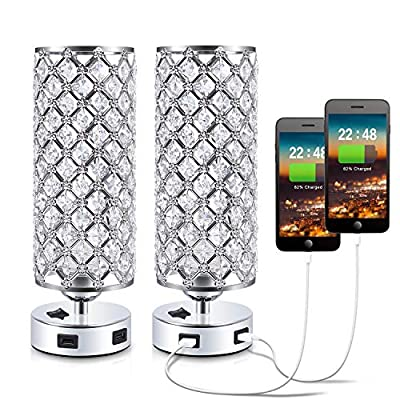 USB Crystal Bedside Lamp, Kakanuo Nightstand Decorative Lamp with Dual Fast USB Charging Ports, Modern Glam Table Lamp Set for Bedroom, Living Room, Study Room, Office (Set of 2)