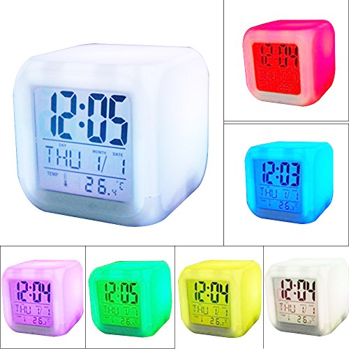 Enshey 7 Farben Wecker Digital Wecker Thermometer-7 LED Farbwechsel mit Temperatur, Alarm und Schlaf Funktion