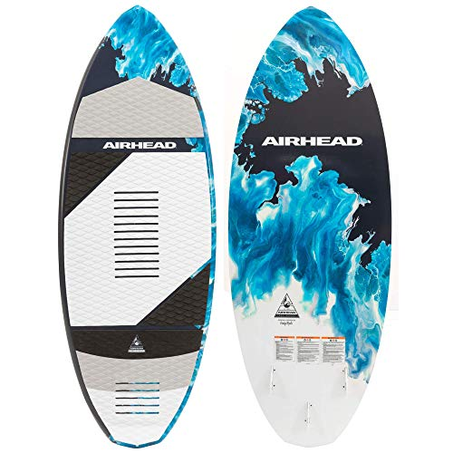 Airhead Lake Effect Wakesurf Board | Skim Board Style with Minimum Rocker, White, Regular