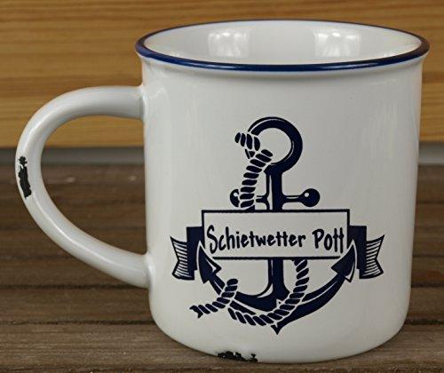 Unbekannt Maritimer Kaffeebecher mit Anker Schietwetter Pott, Keramik im Used Emaille-Look