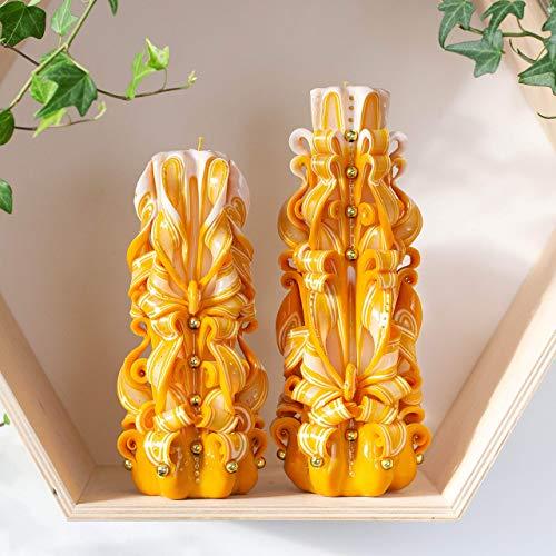 Weihnachtskerzen gelb und weiß-geschnitzte Kerze set mit gold Perlen