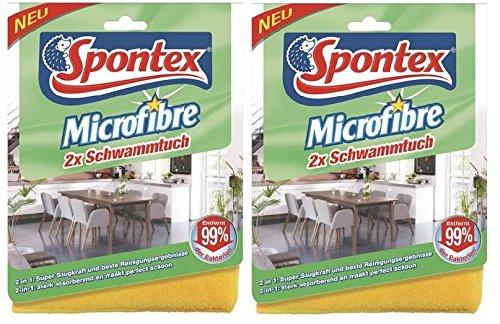 Lot de 4 chiffons éponge en microfibre Spontex - Nettoyants - Particulièrement absorbants pour tous les types de surface