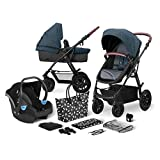 Kinderkraft Pram 3 in 1 Set XMOOV, Travel System, Baby Pushchair, Foldable, with Infant Car Seat, Carrycot, Cushioning, Accessories, Rain Cover, for Newborn, from Birth to 3 Years, Denim