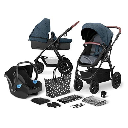 Kinderkraft Pram 3 in 1 Set XMOOV, Travel System, Baby Pushchair, Foldable, with Infant Car Seat,...