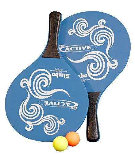 Mediablue Beachball Set - Ball-Spiel Set mit 2 Holzschläger (Blau)