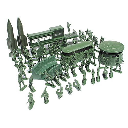 56 Pieces Army Base Set WWII Playset 5cm Army Men Action Figures & Accessories - Army Office, Blockhouse & More