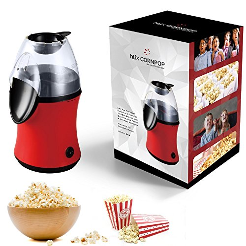 hLix CORNPOP - Macchina Per Popcorn Ad Aria Calda Pronta In 3 Minuti Senza Olio O Grassi, Potenza 1100W, Per Popcorn Freschi E Magri - Include 10 Scatole Per Popcorn - Colore ROSSO