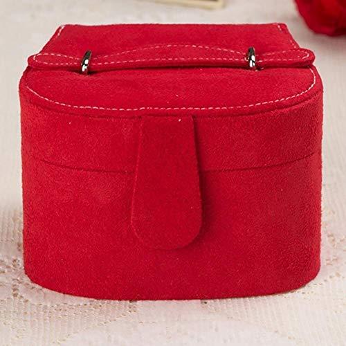 MGE Flanell Shell Jewelry Box, Uhr Aufbewahrungsbox Schmuck Aufbewahrungsbox mit einem Spiegel (Color : Rosered)