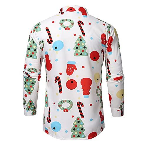 Mengove Top De Camisa NavideñA con Estampado De Ciervos NavideñOs con Copo De Nieve Informal para Hombre