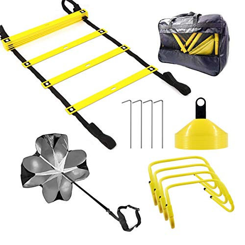 FYGAIN Speed Agility Training Set, Includes Resistance Parachute, Agility Ladder, 4 Steel Stakes, 4 Adjustable Hurdles, 12 Disc Cones with Holder, Speed Training Equipment for Soccer, Football
