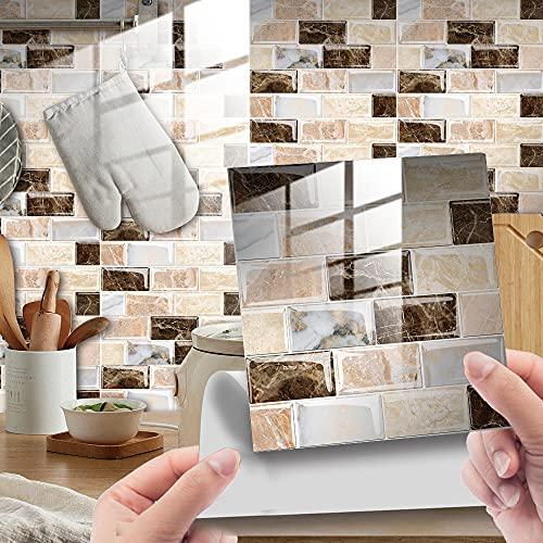 Hiser 25 Piezas Mármol Adhesivos Decorativos Azulejos Pegatinas para Baldosas del Baño/Cocina Mármol Impresión de Mosaico - Clásico Resistente al Agua Pegatina de Pared (Caqui,15x15cm)