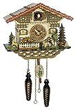 magicaldeco Original Schwarzwald-Kuckucksuhr Jäger beweglich,Mühlenrad dreht-12 Melodien-Cuckoo Clock