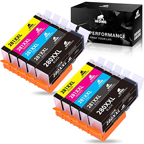 IKONG 280XXL 281XXL Compatible Canon 280 281 Ink Cartridges Value Pack Replacement for Pixma TS9120 TR8520 TS8120 TR7520 TS6120 TS6220 (2 Black,2 PGBK, Cyan,2 Magenta,2 Yellow)
