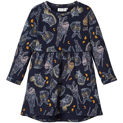 NAME IT Mädchen Kleid NMFSIGGIE LS Light Sweat Dress BRU, Größe:104, Farbe:Dark Sapphire