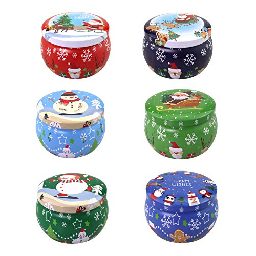 6 Pcs 2.2-oz.Tinplate Empty Scented Candle Tin Jars, Reusable Storage case for Dry Storage Spices, Camping, Christmas Holiday Gifts, and Sweets Gifts