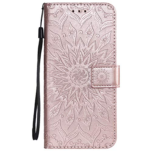 Hülle für Galaxy A9 2018 Hülle Handyhülle [Standfunktion] [Kartenfach] [Magnetverschluss] Schutzhülle lederhülle flip case für Samsung Galaxy A9 2018/A920F - DEKT030234 Rosa Gold