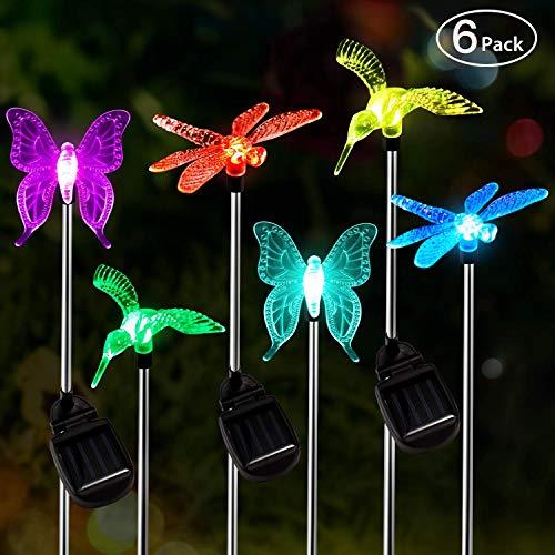 Solar Garten Beleuchtung Außen,OxyLED 6 Stück LED-Figuren-Pfahllicht, farbveränderliche Landschaftsbeleuchtung, Blumenleuchten mit Solarantrieb wasserdicht für die Terrasse Rasen-Hofweg