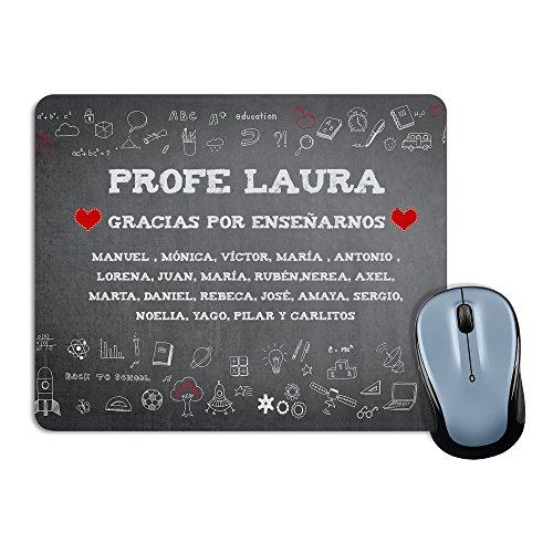 LolaPix Alfombrilla de ratón Profesor y Profesora Personalizada con Nombre del Maestro o Maestra y Alumnos | Regalo Original Fin de Curso | Varios diseños Tiza Rectangular