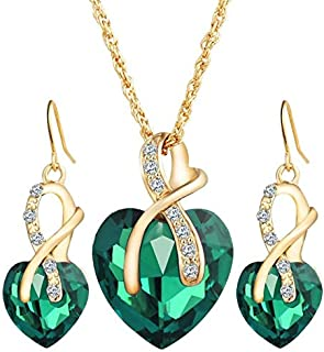 Gold plated set for women ring earrings and necklace adorned with crystal and pearl big heart shape,Green