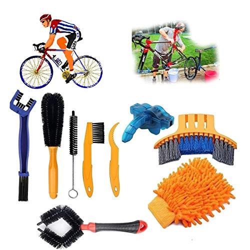 Reinigungsbürste Fahrrad, Fahrrad Reinigungsset Bürste mit Kettenreinigungsgerät/Reinigungs Handschuhen/Kette Ritzelbürste, Fahrradkette Bürste Bike Reinigung Tool Set für Fahrradkette Kurbel Reifen