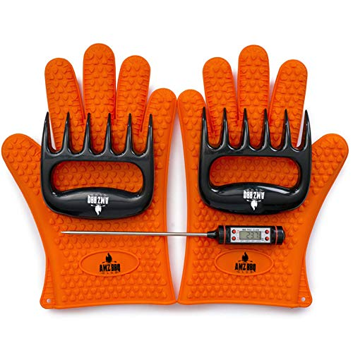 BBQ Gloves, Meat Claws and Digital Instant Read BBQ Thermometer (3 pc Set) - Heat Resistant/Silicone Gloves - BBQ Grilling Tool Accessories Make The