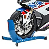 ConStandsEasy Plus-Motorcycle Stand Paddock Front Wheel Chock Transport Motorbike Rocker Universal Blue