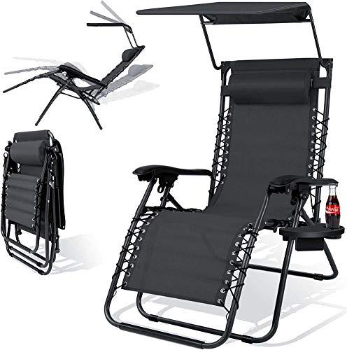 Wxnnx Sillón reclinable plegable de gravedad cero con sombra de dosel ajustable, almohada para reposacabezas, soporte para tazas, bandeja de accesorios