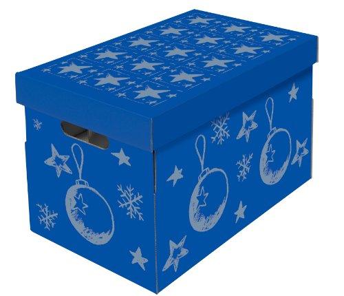 NIPS 119201142 CHRISTMAS Aufbewahrungsbox für Christbaumkugeln und Weihnachtsdeko mit variabler Innenaufteilung auf 3 Ebenen, B 27,5 x T 46,5 x H 29,5 cm, blau / silber
