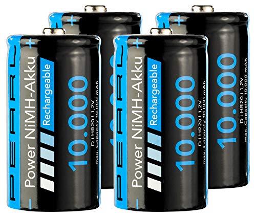 PEARL Accu: 4er-Set NiMH-Akkus Typ D/Monozelle, 10.000 mAh (Batterien Typ D)