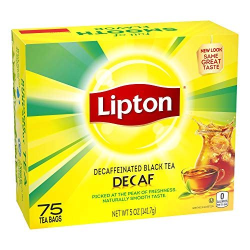 Lipton Tea Bags For a Delicious Beverage Decaffeinated Black Tea Caffeine-Free and Made With Real Tea Leaves 75 Tea Bags, 2 count