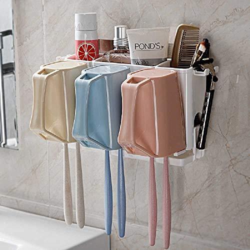Onbekend No Brand wandafsorberende tandenborstel rek washcup set mondspoelbeker tandpasta tandenborstel opbergrek 23 * 7 * 13cm Drei Tassen.