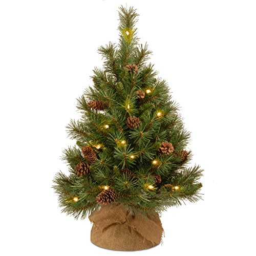 National Tree Company Pre-lit Artificial Mini Christmas Tree | Includes Small White LED Lights and Cloth Bag Base | Pine Cone Burlap - 3 ft