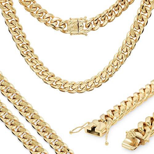 JB Jewelry Cadena Cubana chapada en Oro de 18 Quilates, joyería de Moda de Acero Inoxidable