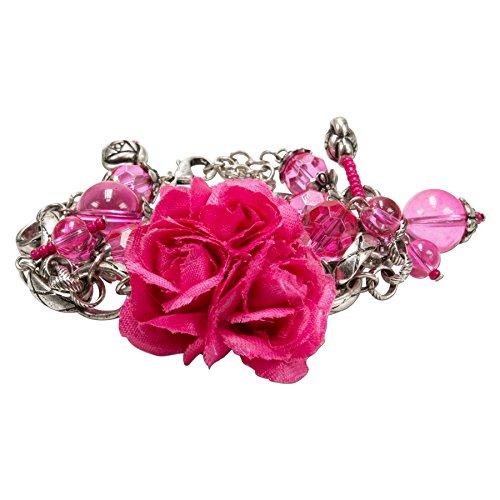 Alpenflüstern Blüten-Trachten-Armkette ROSI - Damen-Trachtenschmuck, Trachten-Armband mit Stoff-Blumen pink-Fuchsia DAB034
