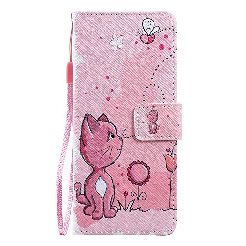 Phone Case for Sony Xperia XZ5 Leather Case, Premium Flip Leather Wallet Phone Case PU Cover [Kickstand] [Card Slots] [Magnetic Closure] Full Protection Cover for Sony Xperia XZ5 - Cat and bee