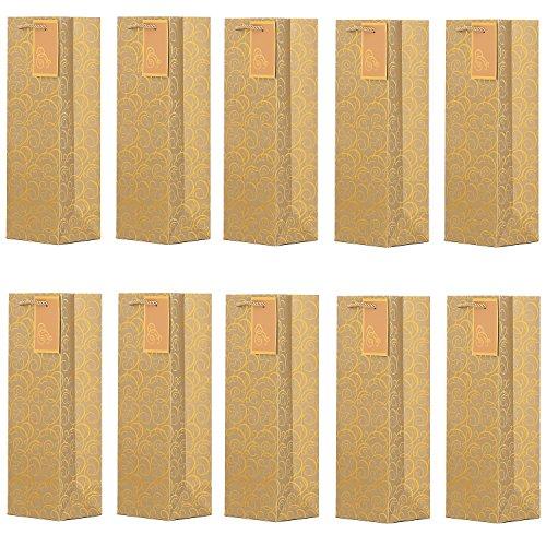 Paquete de 10 pieces de bolsos de la botella nobles bolsos de regalo oro para vino, cava y champán 36x12x10