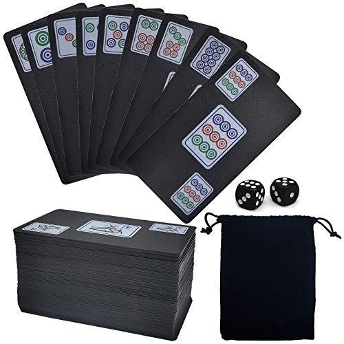 JJYHEHOT Mahjong Spielkarten , Tragbarer Wasserdichter Freizeit- Und Unterhaltungsanzug Mit Würfeln Und Aufbewahrungstasche Mit Kordelzug