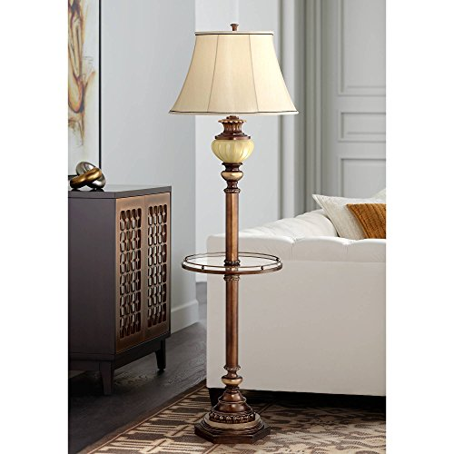 Retro Style Floor Lamp with Glass Tray