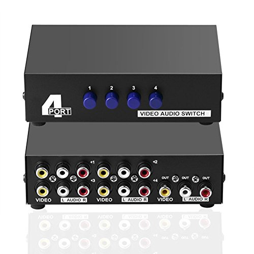 SIENOC 4-Wege AV Switch 4 in 1 heraus Audio Video L/R RCA Selector Switch Box Splitter Schwarz für DVD STB Spielkonsolen