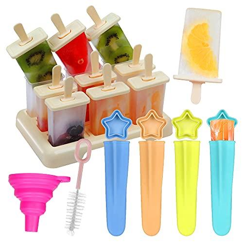 Annhao Stampini per Gelato, 9 formine per gelatiere con 4 Stampi in Silicone, Riutilizzabili Colorato Stampo di Popsicle Ideale per la Preparazione di Ghiaccioli, Gelati, Sorbetti, Budino